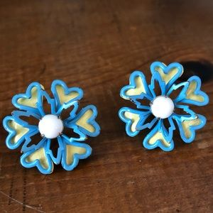 Vintage Enamel Heart Snowflake Screw Back Earrings
